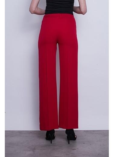 Jument Kadın Beli Lastikli Bol-Rahat Kesim Ön-Arka Dikişli Pantolon -Kiremit Kırmızı